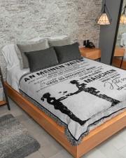 "MEINEN VATER - NICHT LEICHT  Large Sherpa Fleece Blanket - 60"" x 80"" aos-sherpa-fleece-blanket-lifestyle-front-04"